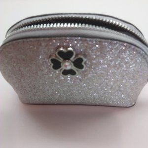 Kate Spade New Small Silver Sparkle Cosmetic Case